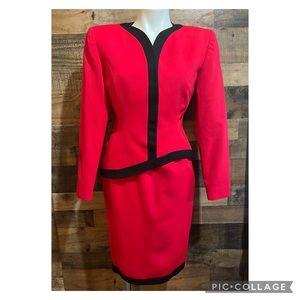 Vintage 80s 90s Red Black Asymmetric Power Skirt Suit Set Size 4